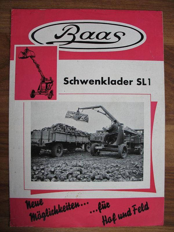 Prospekt Baas Schwenklader Sl1 1958 Maschinenbau Hamburg 1958