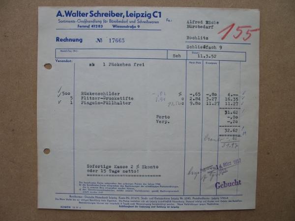 Walter Schreiber Leipzig Schreibwaren Bürobedarf Rechnung 1952 155