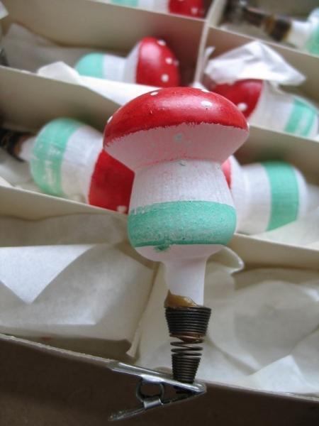 Christbaumschmuck Weihnachtsbaumschmuck Pilze Fliegenpilze Ddr